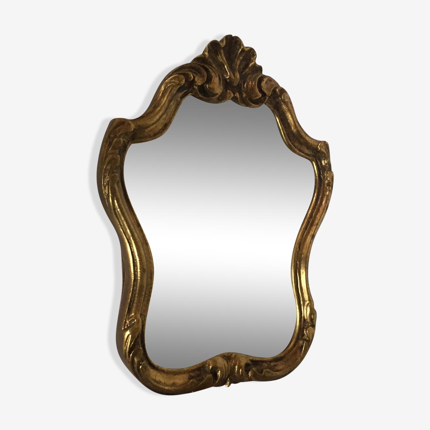 Miroir en bois doré 28 x 20 cm