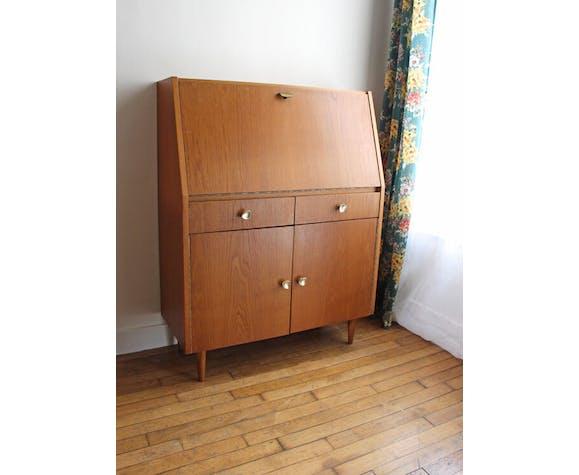 Secrétaire vintage en bois blond vernis