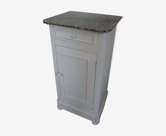 Table de chevet plateau marbre bois mat riau gris - Table de chevet marbre ...