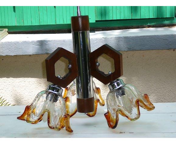Lustre verre Murano chrome et bois années 60