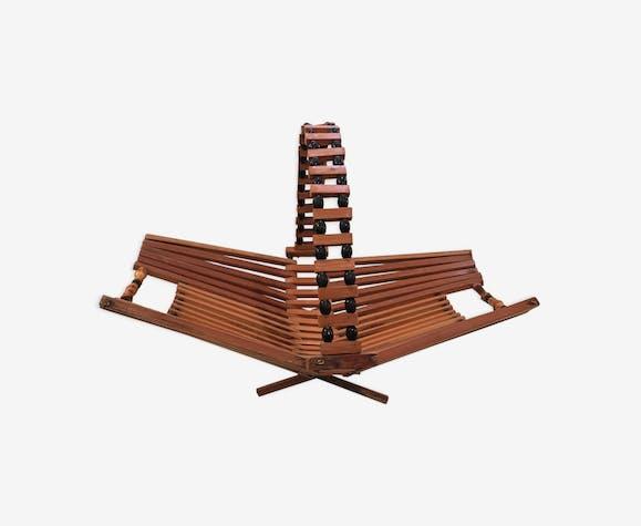 Coupe a fruits en bambou bois années 60 repliable