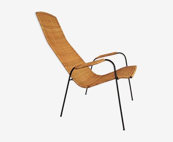 Italian high back wicker armchair