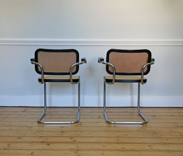 "Pair of ""Cesca"" chairs in black by Marcel Breuer, 1980"