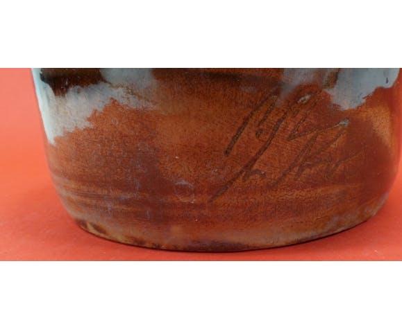 Bouteille ancienne en terre cuite émaillée