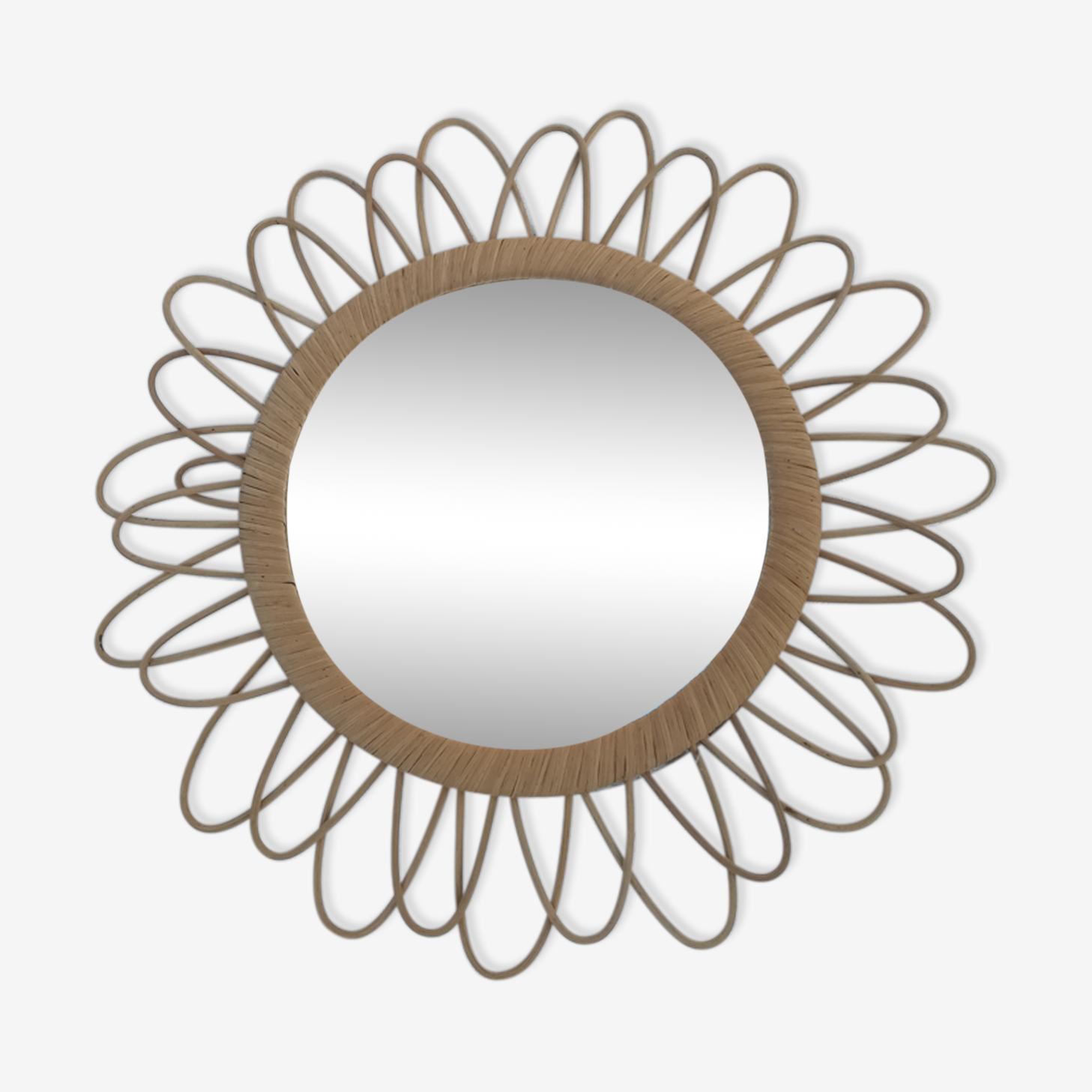 Miroir fleur en rotin vintage diam.47cm