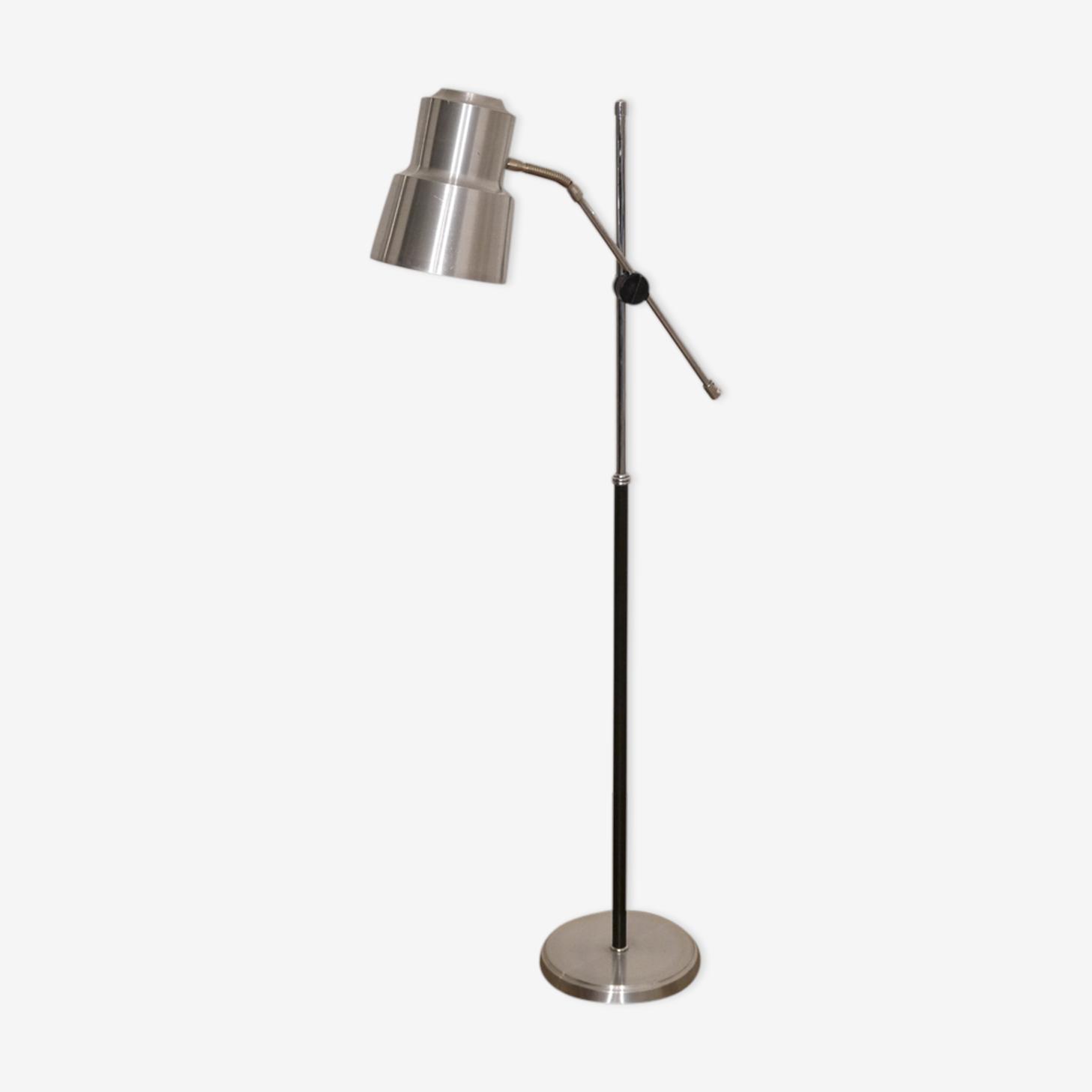 Floor lamp in brushed aluminium