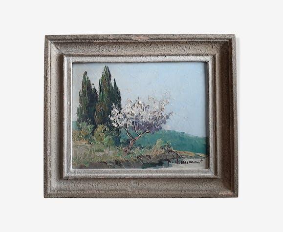 """Peinture a l'huile """"paysage provençal"""" signé Deaumont"""