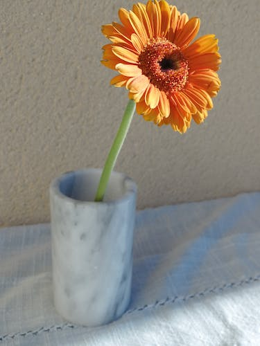 Vase tube in gray and white marble