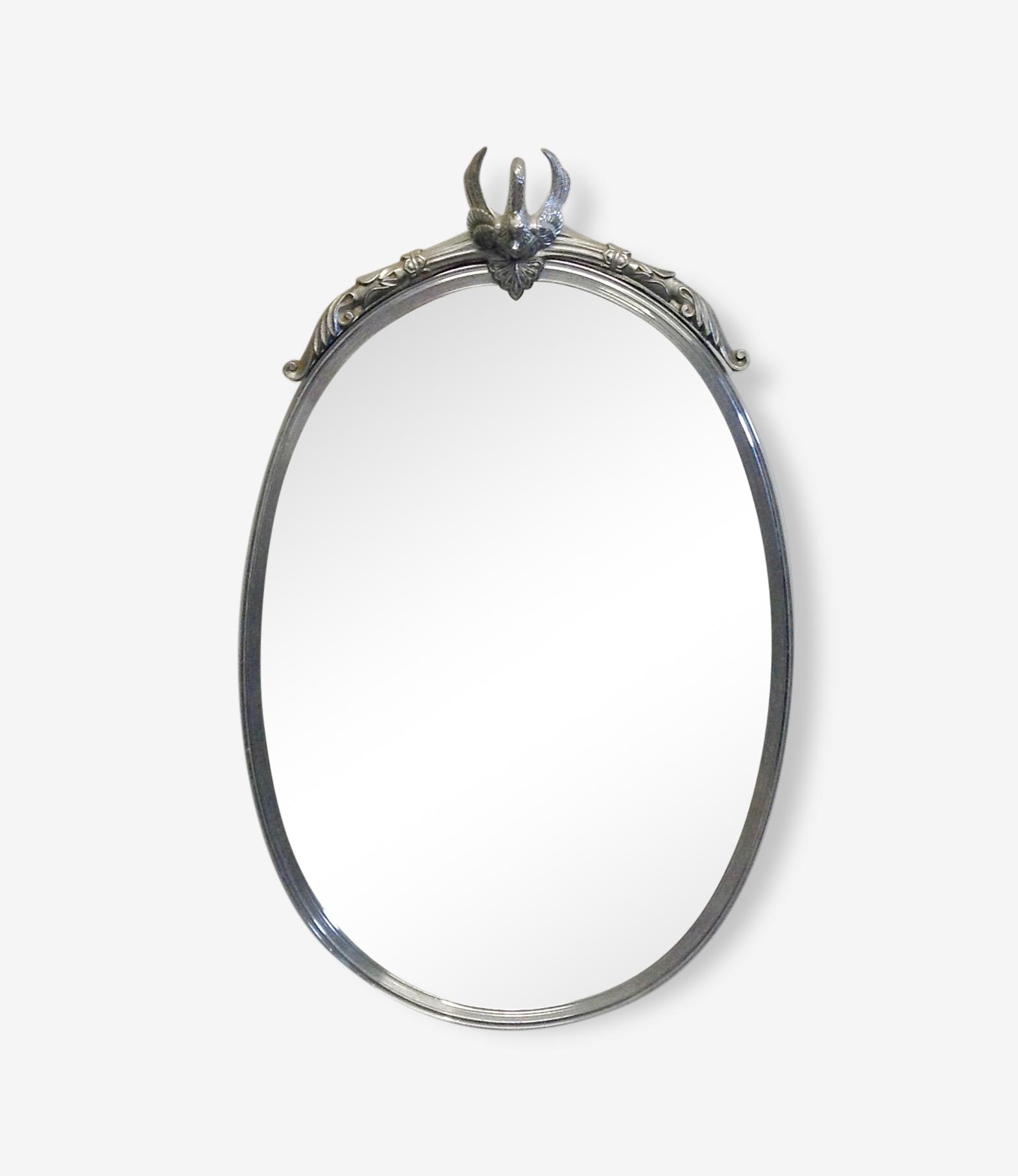Miroir ovale animalier.