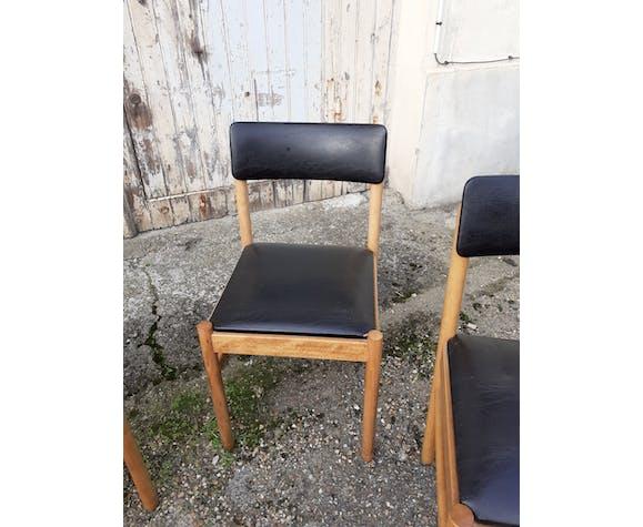 Set de 6 chaises anciennes vintage skai et bois vintage xxeme scandinave