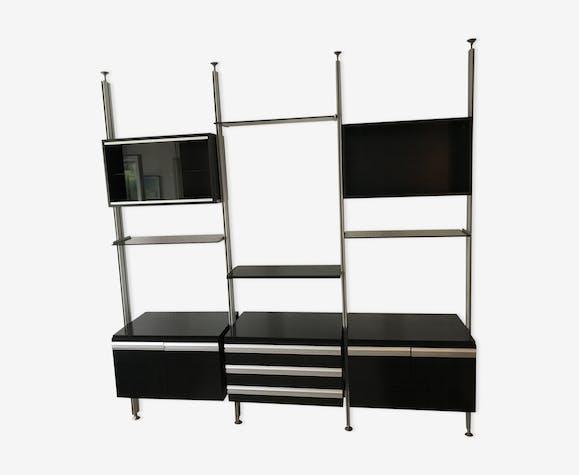 biblioth que modulable roche bobois 1970 bois mat riau noir design ovrudrl. Black Bedroom Furniture Sets. Home Design Ideas