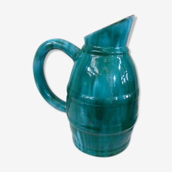 Jug in glazed stoneware, blue and green reflections, vintage