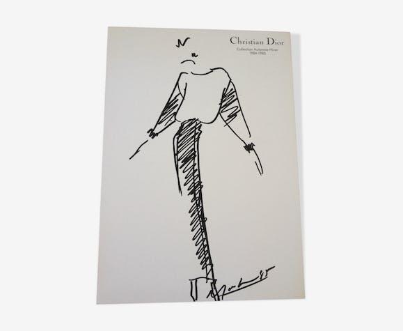 Illustration de mode de presse Christian Dior collection automne-hiver 1984-1985