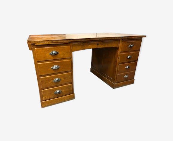 Bureau ancien en bois a double caisson bois mat riau marron vintage wqacev7 - Bureau bois ancien ...