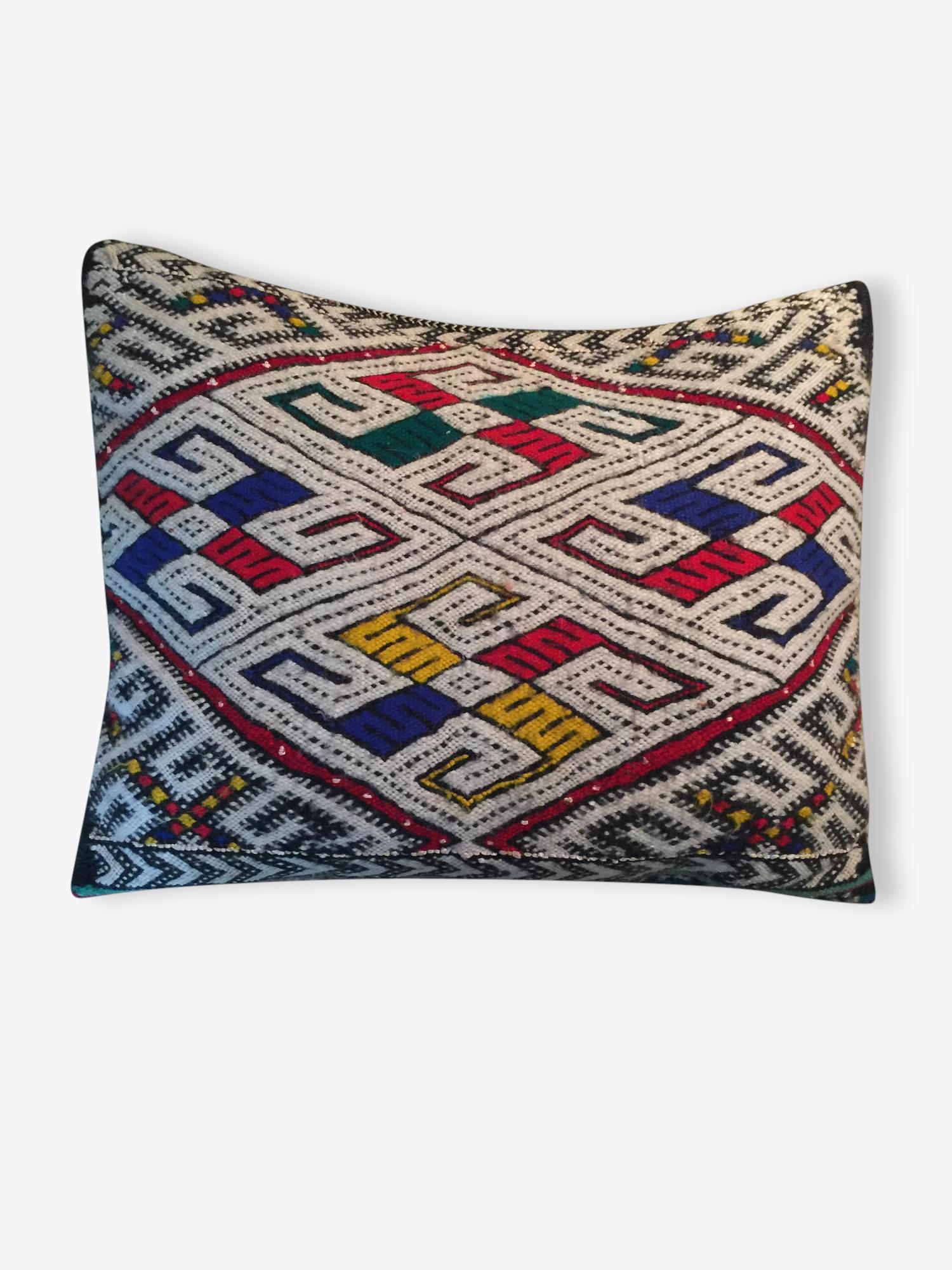 Coussin kilim ancien berbère pure laine 46cmx36cm