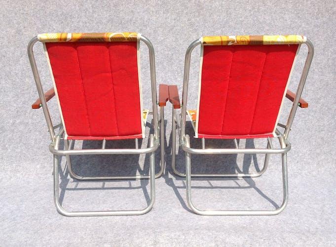 Paire de chaises pliantes années 70 vintage