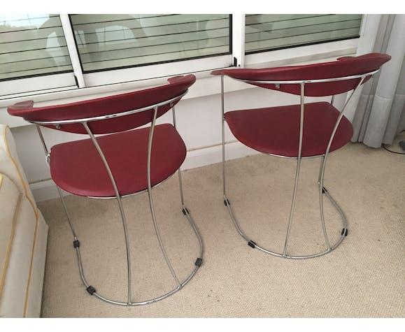 Paire de chaises rouges en skai années 80