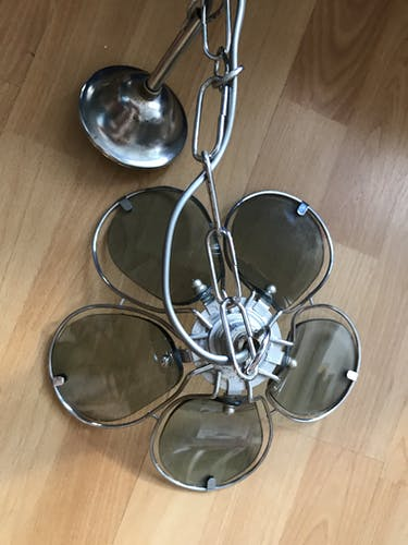 Lustre fleur métal et verre fume