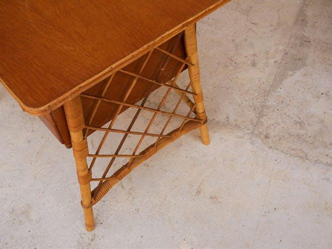 Rattan desk by Louis Sognot, 1950