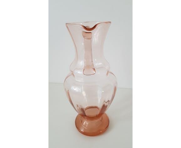 Carafe verre rosé Art Déco