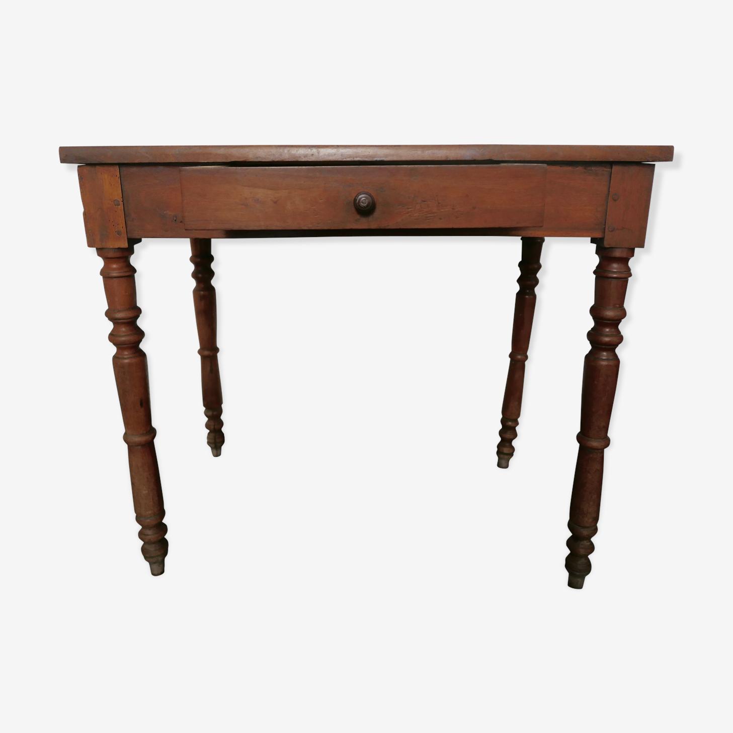 Table d'appoint en chêne avec tiroir