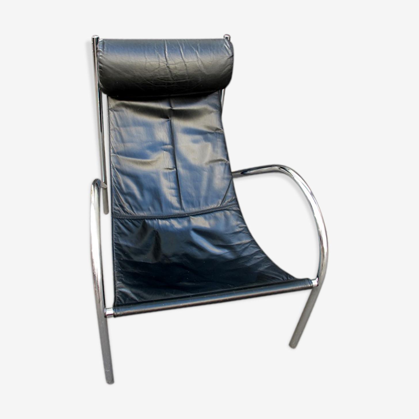 Fauteuil design 70 chaise longue chrome cuir tendu cuir noir