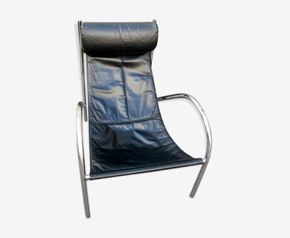 Fauteuil Design 70 Chaise Longue Chrome Cuir Tendu