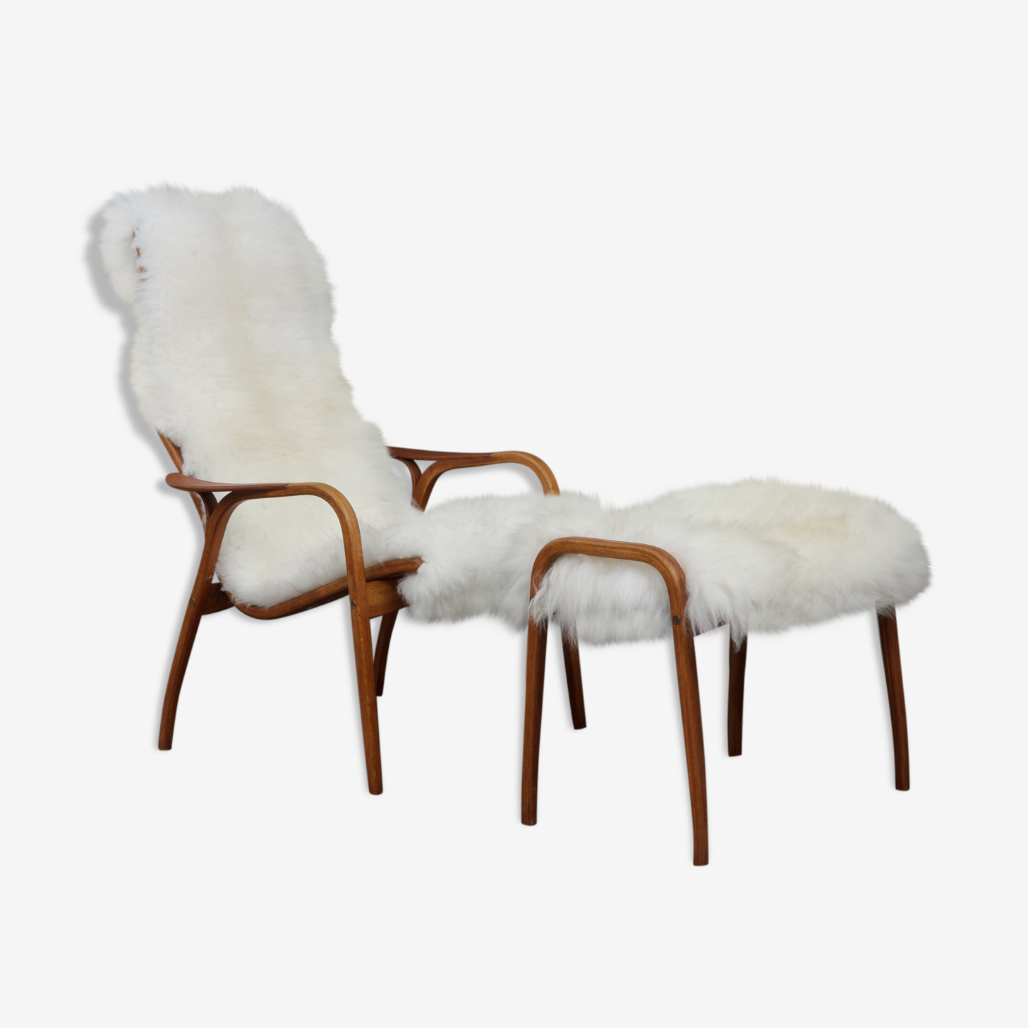 Yngve Ekström sheepskin lounge chair with footstool