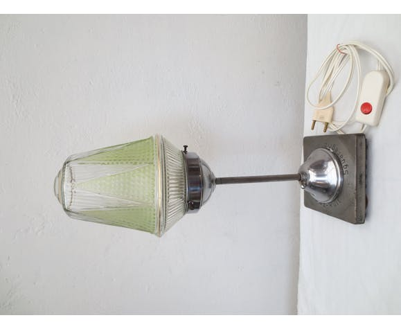 Original vintage glass and metal table lamp