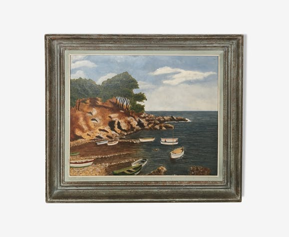 Tableau paysage bord de mer Cote d'Azur années 60