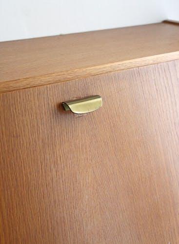 Vintage writing desk in varnished blond wood