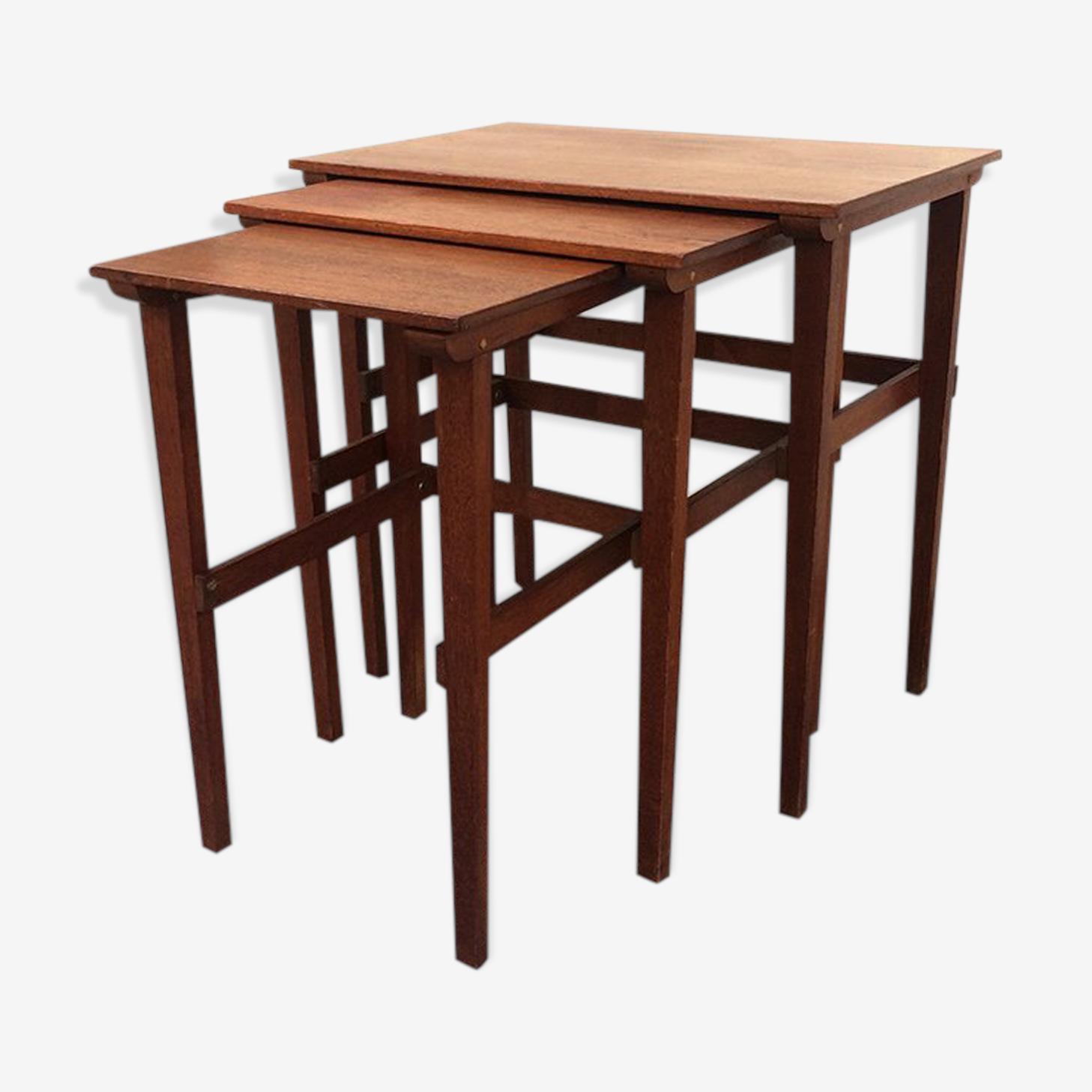 Tables gigognes style scandinave en bois 1960