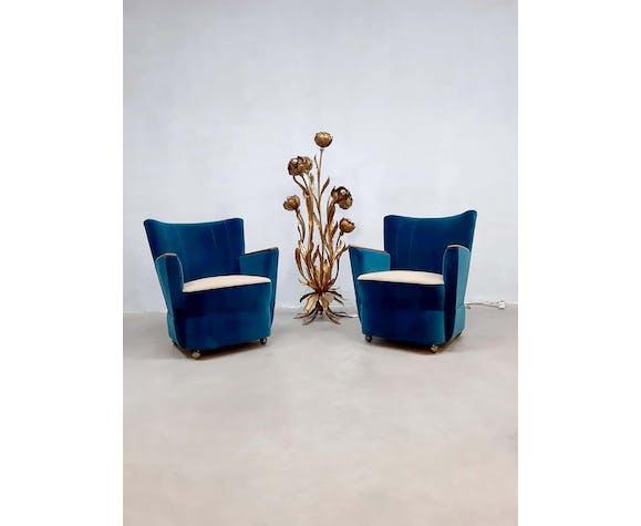 Set of 2 armchairs 'ocean blue'