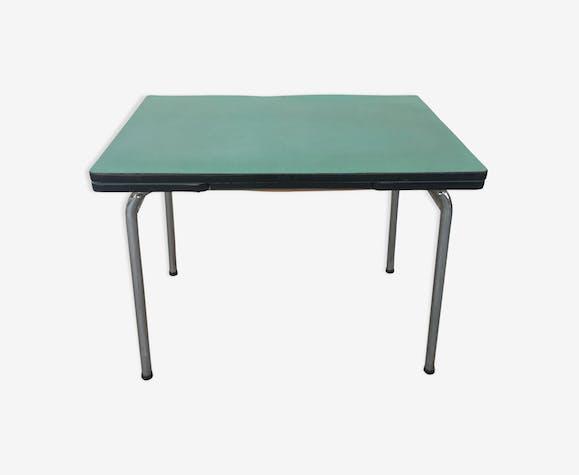Table formica verte avec 2 rallonges et un tiroir années 60