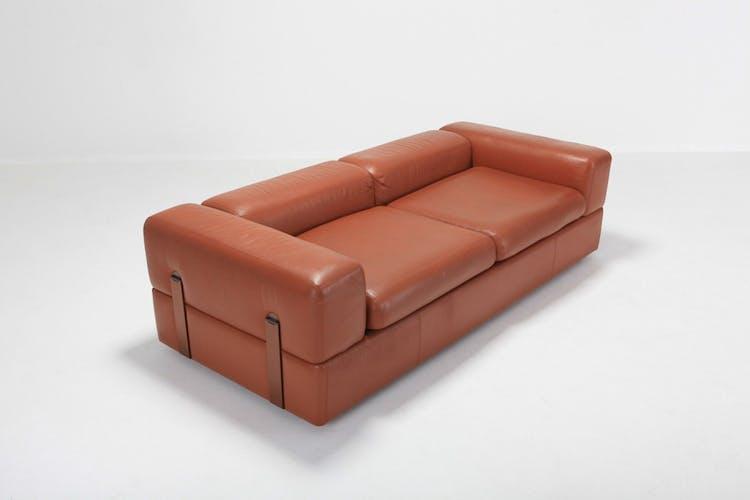 Canapé minimalist en cuir cognac par Tito Agnoli pour Cinova 1960