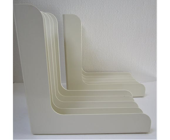 Paire de range disques vinyles blancs vintage années 70