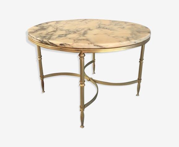 Table Basse Ronde Avec Plateau En Marbre Marbre Beige Vintage
