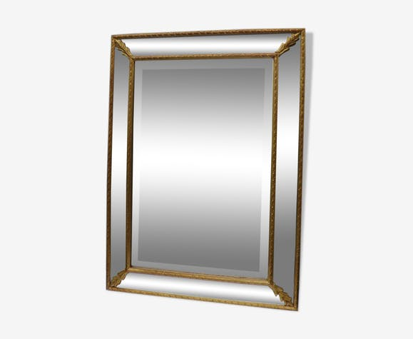 ancien miroir parclose en bois peint dor xx me 56 x 76 cm bois mat riau dor classique. Black Bedroom Furniture Sets. Home Design Ideas