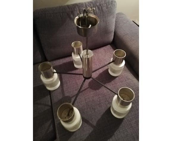 Lustre scandinave 5 lampes métal noir aluminium et verre vintage 50 60