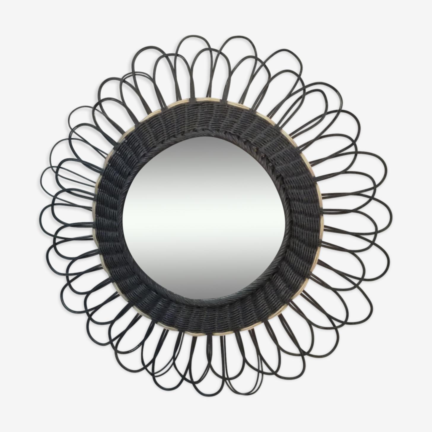 Miroir rotin peint