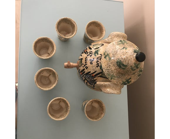 Wine jar and 6 Vallauris cups