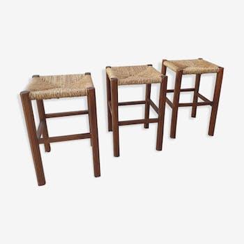 3 tabourets vintage rustique artisanal des années 70
