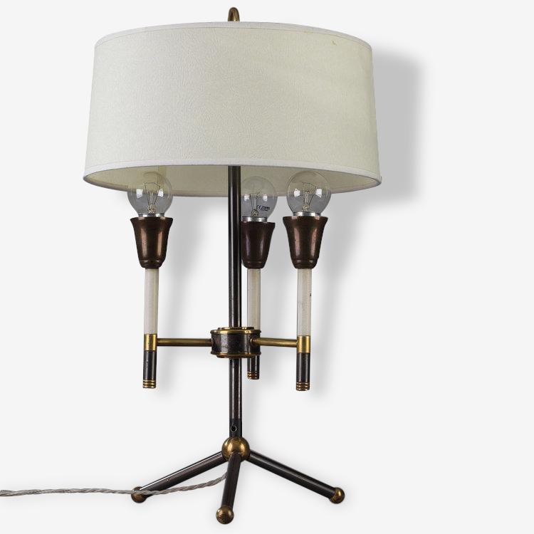 Lampe de table moderniste en métal laqué noir et doré