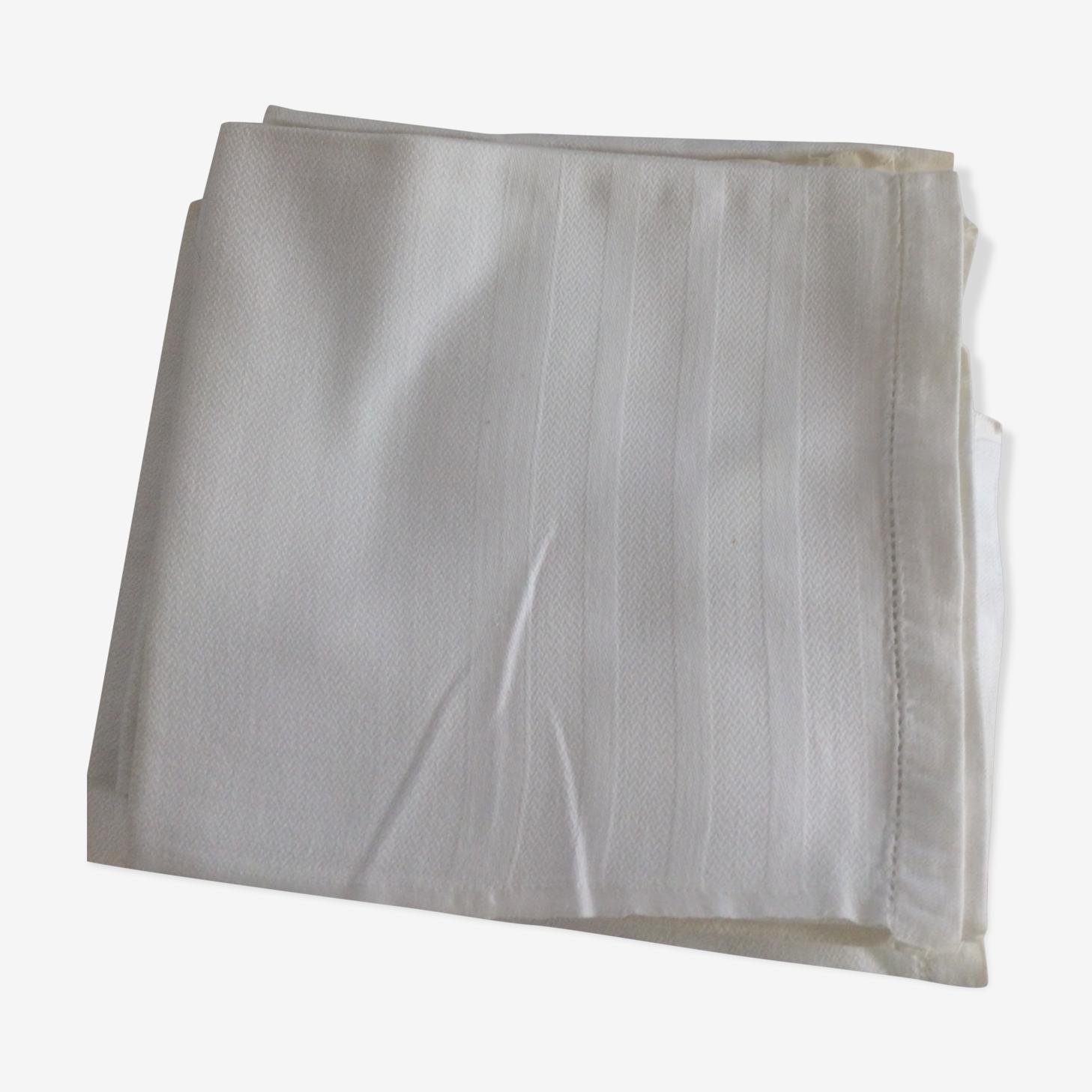 8 torchons blancs coton chevrons