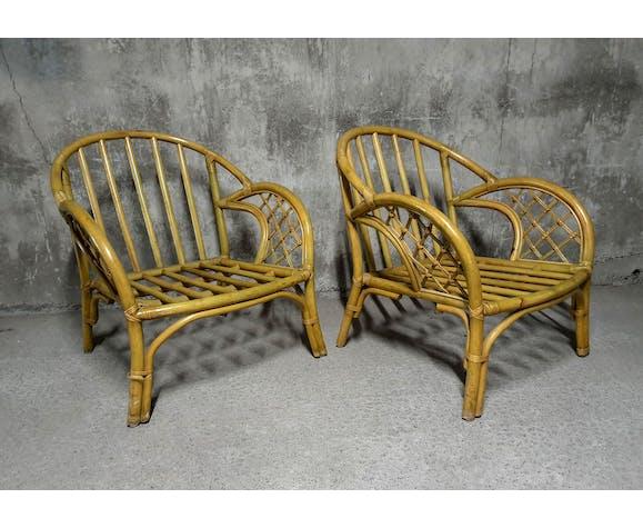 Paire de fauteuils en rotin tapisserie tropicale