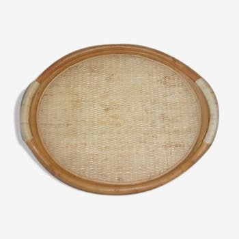Vintage rattan serving tray