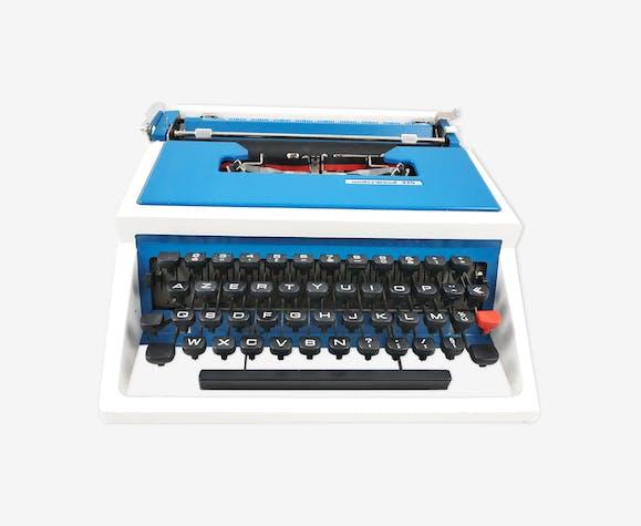 Machine à écrire Underwood 315 bleue et blanche vintage