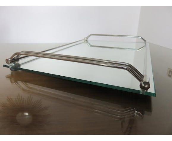Plateau miroir en laiton chromé années 50 60