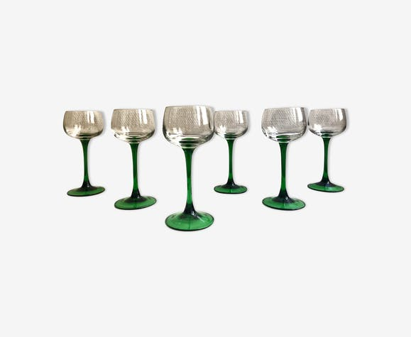 6 verres vin blanc d 39 alsace luminarc france vintage verre et cristal vert vintage frn9zvj. Black Bedroom Furniture Sets. Home Design Ideas