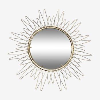 Miroir soleil en laiton 59cm